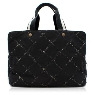 Chanel Black  Criss Cross Large tote Duffle Bag