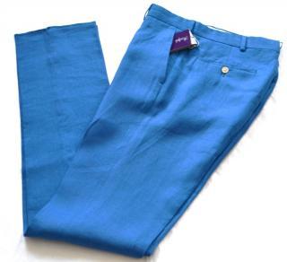 Ralph Lauren Purple Label blue linen trousers