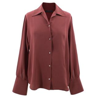 The Row burgundy silk shirt
