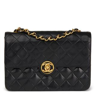 Chanel Quilted Black  Lambskin Vintage Classic Single Flap Bag