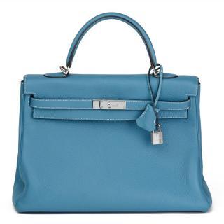 Hermes Kelly -Blue Jean Togo Leather 35cm Retourne Bag