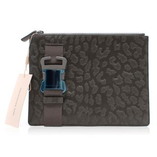 Christopher Kane Leopard Style Embossed Grey Leather Clutch