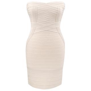 Herve Leger Cream Bandage Strapless Dress