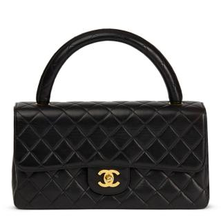 Chanel Vintage Black Quilted Lambskin  Medium Classic Kelly Flap