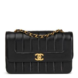 Chanel Vintage Black Vertical Quilted  Classic Single Flap Bag