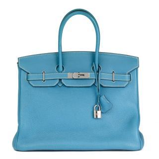 Hermes Blue Jean Togo Leather 35cm Birkin Bag