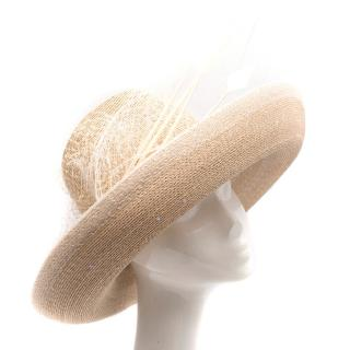 Siggi Beige Straw Hat with Feathers