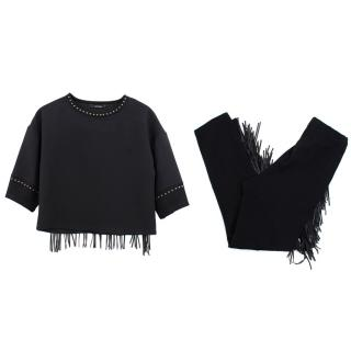 Monnalisa Jakioo black fringe top and trousers set