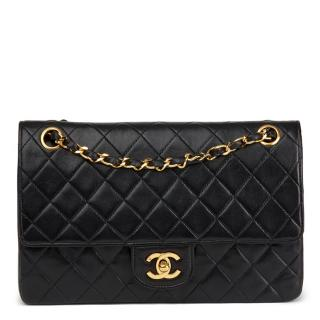 Chanel Quilted Black  Lambskin Vintage Medium Classic Double Flap Bag