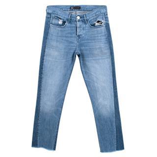 3x1 Blue Denim Jeans with Raw Hems