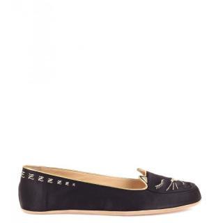 Charlotte Olympia black kitty slippers