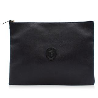 Trussardi black leather clutch bag