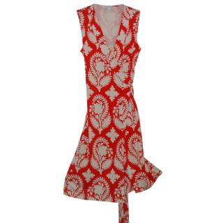 Diane von Furstenberg red/white silk dress, U.S 6