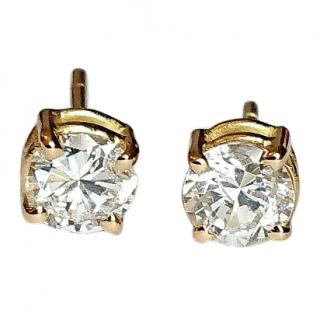 Celebrity Owned Diamond Earrings Cartier Backs 18ct Gold