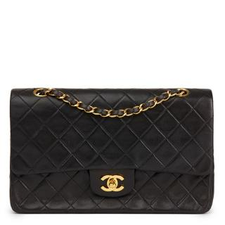 Chanel Vintage iBlack Quilted Lambskin Medium Classic Double Flap Bag