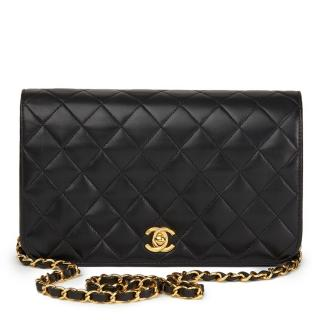 Chanel Vintage Black Quilted Lambskin Small Single Flap Bag