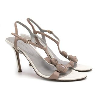 Sergio Rossi nude and white rose embellished suede sandals