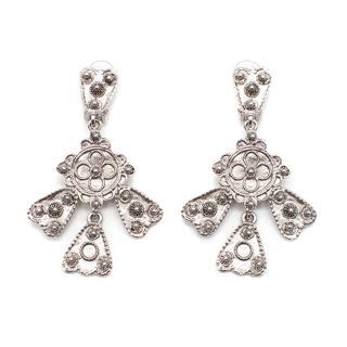 Oscar de la Renta silver tone floral detail cross  design earings