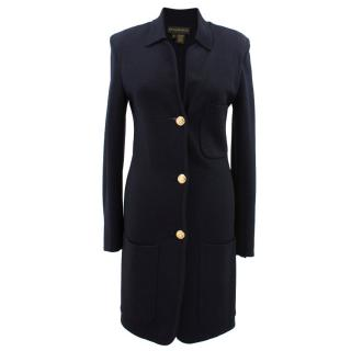 Donna Karan black wool blend long cardigan coat