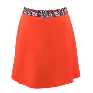 Giles Neon Orange Mini Skirt with Contrast Waistband