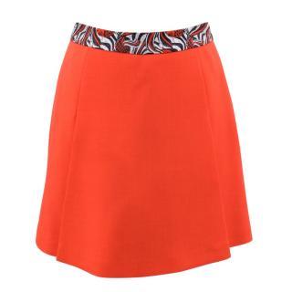 Giles Neon Orange Mini Skirt with Contrast Waistband