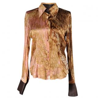 Roberto Cavalli silk and leather shirt