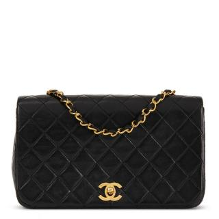 Chanel Vintage Black Lambskin  Small Classic Single Full Flap Bag