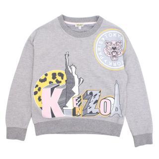 Kenzo grey printed cotton sweatshirt
