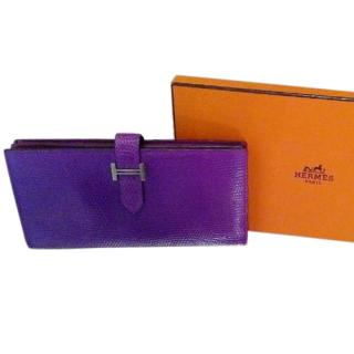 Hermes Purple Bearn Lizard Wallet