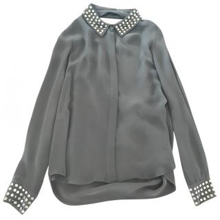 Haute Hippie grey silk blouse