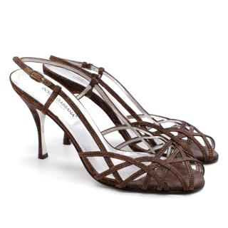 Dolce& Gabbana Copper Metallic Strappy Open Toe Sandals