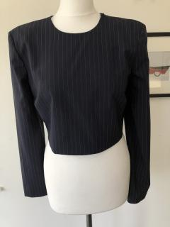 DKNY cropped pin-striped wool-blend top