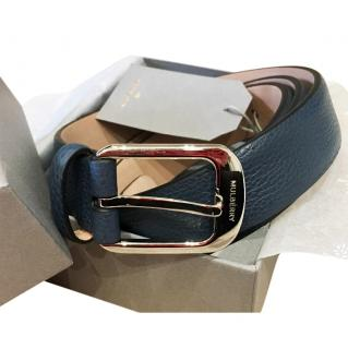 Mulberry Regal Blue Leather Silver Buckle  Belt Size 40