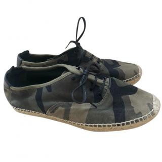 Yves Saint Laurent camouflage print lace up espadrilles
