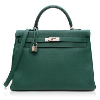 Hermes Kelly 35 cms Malachite Sellier Togo Leather