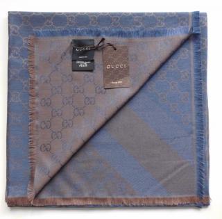 GUCCI scarf /shawl GG Guccissima 140x140 cm wool silk