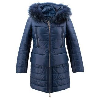 Fun & Fun Navy Puffer Jacket with Fur Hood