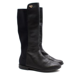 Stuart Weitzman kids black leather knee high boots