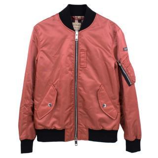 Burberry Current Season Burnt Pink Satin Bomber Jacket
