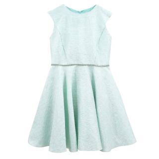 David Charles Girls Mint Green and Gold Dress
