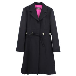 Fendi long black belted coat