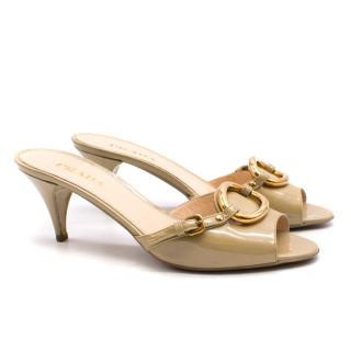 Prada beige patent leather mules