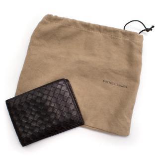 Bottega Veneta dark brown woven leather wallet