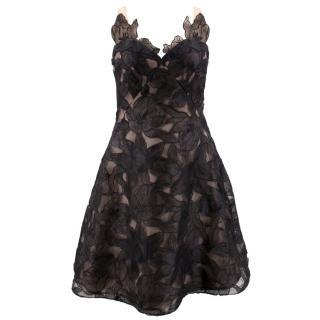 Marchesa Black Chiffon Dress with Nude Underlay
