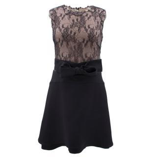 Valentino black lace & nude dress