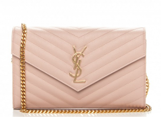 Saint Laurent Monogram Pale Blush Chain Wallet