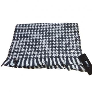 Boss checked wool scarf