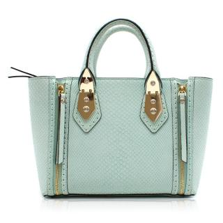 Henri Bendel Snake Embossed Blue Leather Bag