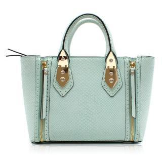 Henri Bendel Snake Embossed Blue Leather Bag