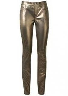 Saint Laurent bronze metallic leather trousers